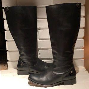 Frye wide shaft Melissa black zip boots